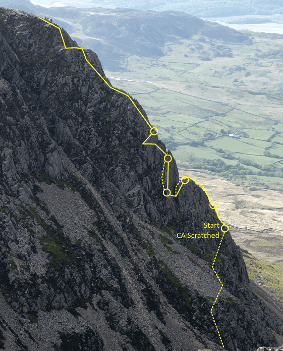 The Cyfrwy Arete Route Line
