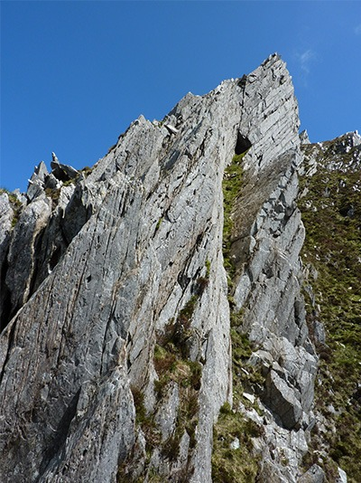 The steeper upper section of the wall