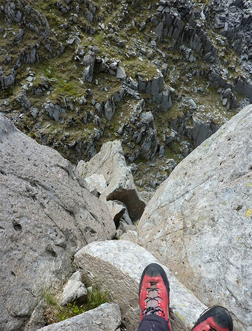 View from crux corner on Dolman