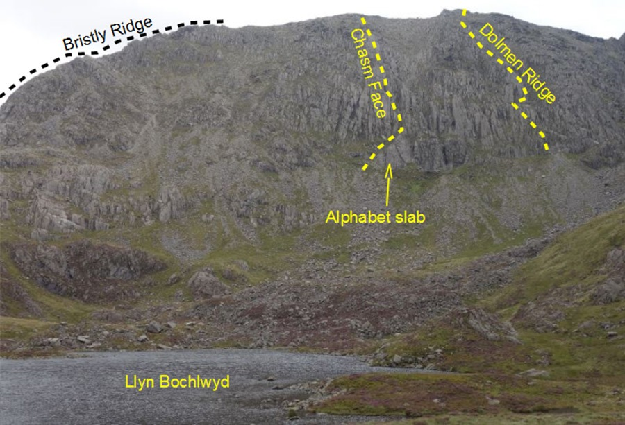View of Glyder Fach with bristly ridge, chasm face, and Dolmen ridge routes.