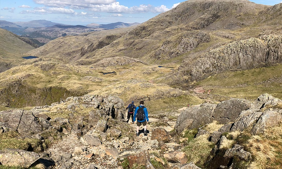 Descending the corridor route on scafell pike